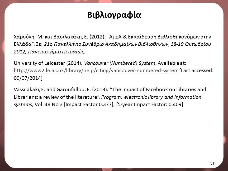 """Βιβλιογραφία Χαρούλη, Μ. και Βασιλακάκη, Ε. (2012). """"ΑμεΑ & Εκπαίδευση Βιβλιοθηκονόμων στην Ελλάδα"""". Σε: 21ο Πανελλήνιο Συνέδριο Ακαδημαϊκών Βιβλιοθηκ"""