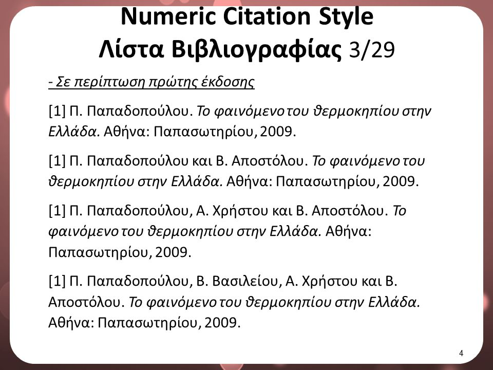 Numeric Citation Style Λίστα Βιβλιογραφίας 3/29 - Σε περίπτωση πρώτης έκδοσης [1] Π. Παπαδοπούλου. Το φαινόμενο του θερμοκηπίου στην Ελλάδα. Αθήνα: Πα