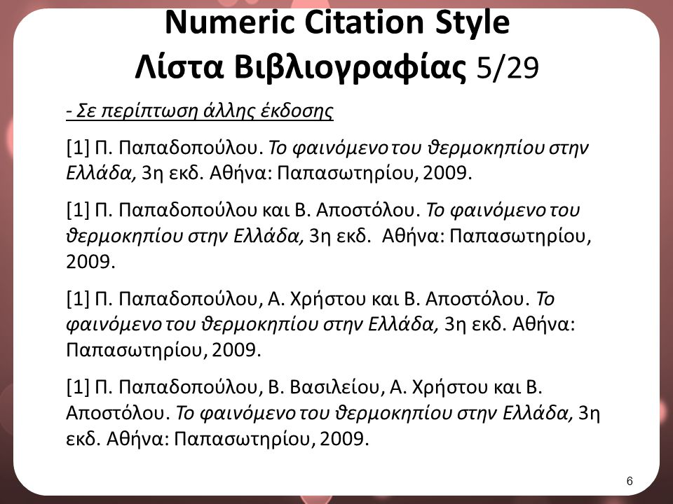 Numeric Citation Style Λίστα Βιβλιογραφίας 5/29 - Σε περίπτωση άλλης έκδοσης [1] Π. Παπαδοπούλου. Το φαινόμενο του θερμοκηπίου στην Ελλάδα, 3η εκδ. Αθ