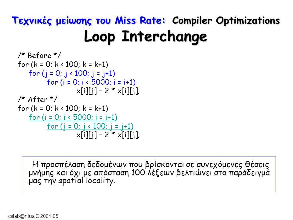 cslab@ntua © 2004-05 Τεχνικές μείωσης του Miss Rate: Compiler Optimizations Loop Interchange /* Before */ for (k = 0; k < 100; k = k+1) for (j = 0; j < 100; j = j+1) for (i = 0; i < 5000; i = i+1) x[i][j] = 2 * x[i][j]; /* After */ for (k = 0; k < 100; k = k+1) for (i = 0; i < 5000; i = i+1) for (j = 0; j < 100; j = j+1) x[i][j] = 2 * x[i][j]; Η προσπέλαση δεδομένων που βρίσκονται σε συνεχόμενες θέσεις μνήμης και όχι με απόσταση 100 λέξεων βελτιώνει στο παράδειγμά μας την spatial locality.