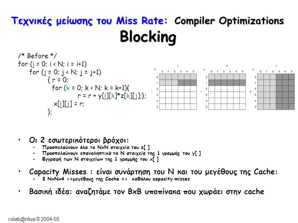 cslab@ntua © 2004-05 Τεχνικές μείωσης του Miss Rate: Compiler Optimizations Blocking /* Before */ for (i = 0; i < N; i = i+1) for (j = 0; j < N; j = j+1) { r = 0; for (k = 0; k < N; k = k+1){ r = r + y[i][k]*z[k][j];}; x[i][j] = r; }; Οι 2 εσωτερικότεροι βρόχοι: –Προσπελαύνουν όλα τα NxN στοιχεία του z[ ] –Προσπελαύνουν επαναληπτικά τα N στοιχεία της 1 γραμμής του y[ ] –Εγγραφή των N στοιχείων της 1 γραμμής του x[ ] Capacity Misses : είναι συνάρτηση του N και του μεγέθους της Cache: –3 NxNx4 καθόλου capacity misses Βασική ιδέα: αναζητάμε τον BxB υποπίνακα που χωράει στην cache