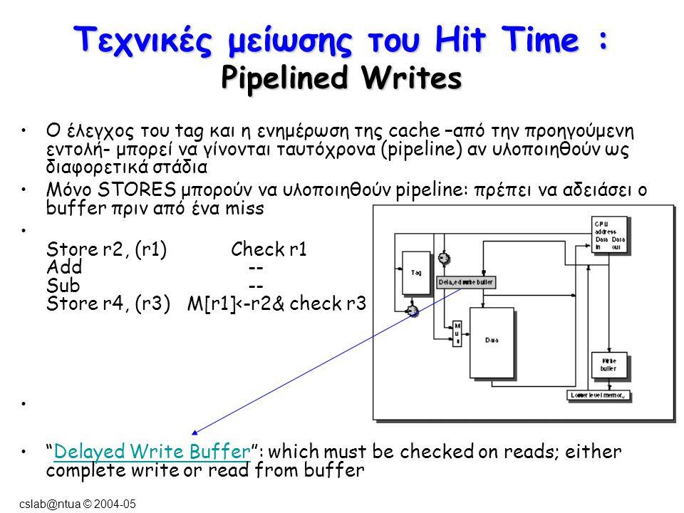 cslab@ntua © 2004-05 Τεχνικές μείωσης του Hit Time : Pipelined Writes Ο έλεγχος του tag και η ενημέρωση της cache –από την προηγούμενη εντολή- μπορεί