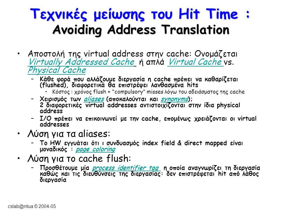 cslab@ntua © 2004-05 Τεχνικές μείωσης του Hit Time : Avoiding Address Translation Αποστολή της virtual address στην cache: Ονομάζεται Virtually Addressed Cache ή απλά Virtual Cache vs.