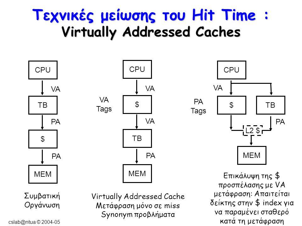 cslab@ntua © 2004-05 Τεχνικές μείωσης του Hit Time : Virtually Addressed Caches Συμβατική Οργάνωση Virtually Addressed Cache Μετάφραση μόνο σε miss Synonym προβλήματα Επικάλυψη της $ προσπέλασης με VA μετάφραση: Απαιτείται δείκτης στην $ index για να παραμένει σταθερό κατά τη μετάφραση CPU TB $ MEM VA PA CPU $ TB MEM VA PA CPU $TB MEM VA PA Tags PA VA Tags L2 $