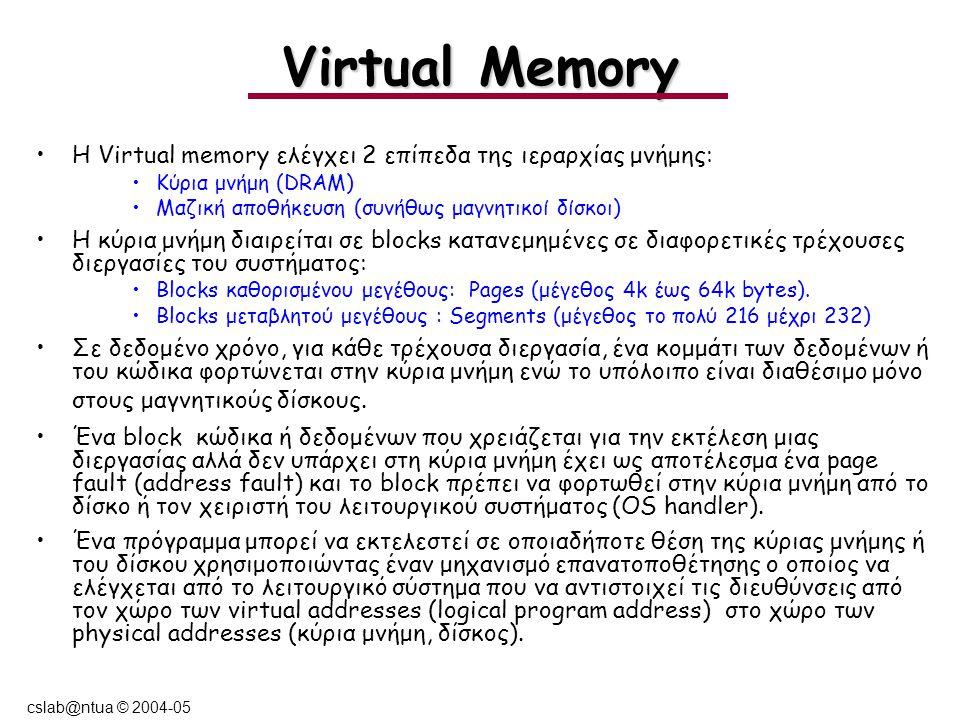 cslab@ntua © 2004-05 Virtual Memory Η Virtual memory ελέγχει 2 επίπεδα της ιεραρχίας μνήμης: Κύρια μνήμη (DRAM) Μαζική αποθήκευση (συνήθως μαγνητικοί δίσκοι) Η κύρια μνήμη διαιρείται σε blocks κατανεμημένες σε διαφορετικές τρέχουσες διεργασίες του συστήματος: Βlocks καθορισμένου μεγέθους: Pages (μέγεθος 4k έως 64k bytes).