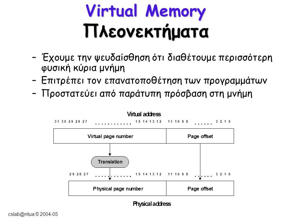 cslab@ntua © 2004-05 Virtual Memory Πλεονεκτήματα –Έχουμε την ψευδαίσθηση ότι διαθέτουμε περισσότερη φυσική κύρια μνήμη –Επιτρέπει τον επανατοποθέτηση των προγραμμάτων –Προστατεύει από παράτυπη πρόσβαση στη μνήμη
