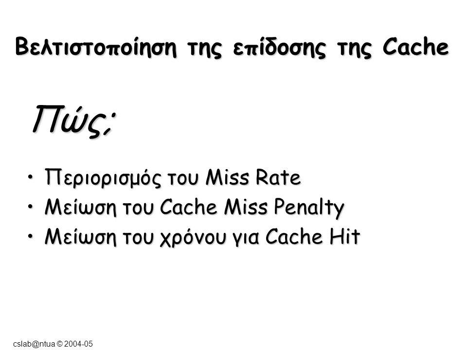 cslab@ntua © 2004-05 Βελτιστοποίηση της επίδοσης της Cache Πώς; Περιορισμός του Miss RateΠεριορισμός του Miss Rate Μείωση του Cache Miss PenaltyΜείωση του Cache Miss Penalty Μείωση του χρόνου για Cache HitΜείωση του χρόνου για Cache Hit