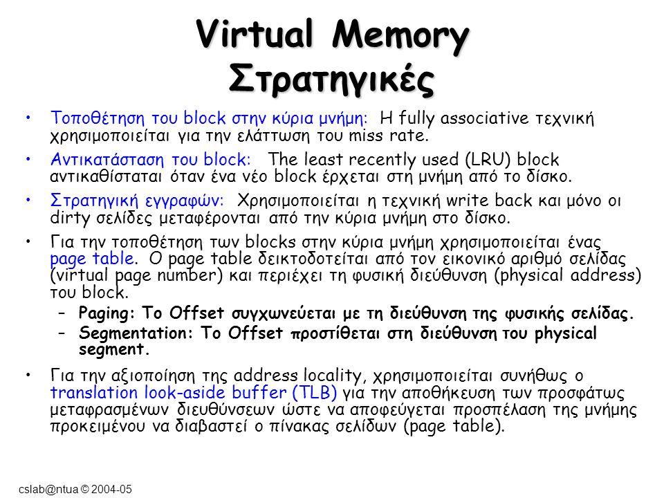 cslab@ntua © 2004-05 Virtual Memory Στρατηγικές Τοποθέτηση του block στην κύρια μνήμη: Η fully associative τεχνική χρησιμοποιείται για την ελάττωση το