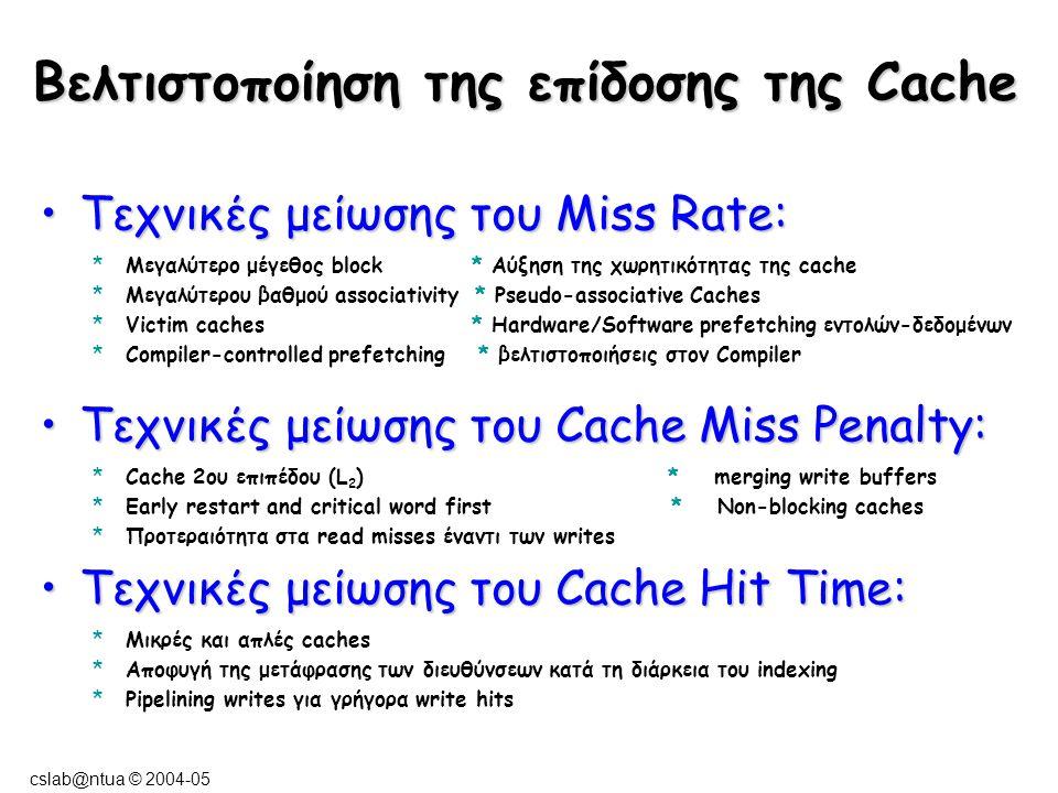 cslab@ntua © 2004-05 Τεχνικές μείωσης του Miss Rate:Τεχνικές μείωσης του Miss Rate: *Μεγαλύτερο μέγεθος block * Αύξηση της χωρητικότητας της cache *Με