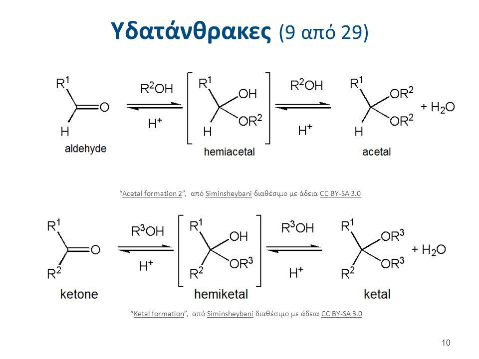 Υδατάνθρακες (9 από 29) 10 Acetal formation 2 , από Siminsheybani διαθέσιμο με άδεια CC BY-SA 3.0Acetal formation 2SiminsheybaniCC BY-SA 3.0 Ketal formation , από Siminsheybani διαθέσιμο με άδεια CC BY-SA 3.0Ketal formationSiminsheybaniCC BY-SA 3.0