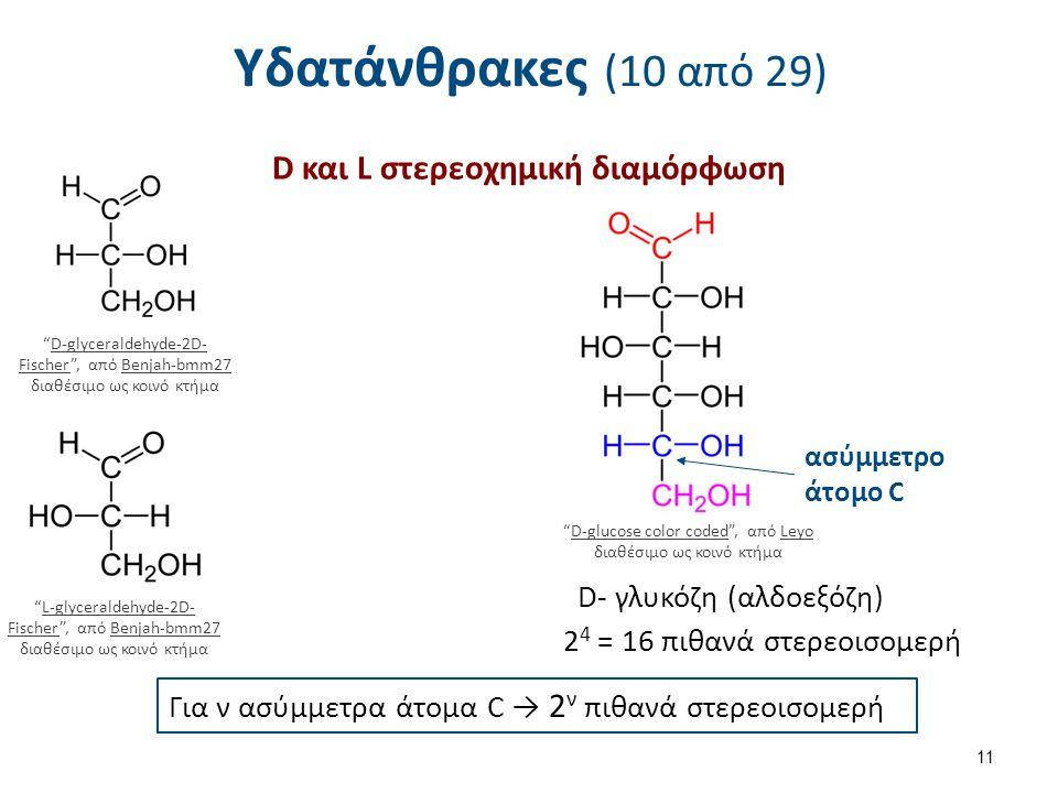 Υδατάνθρακες (10 από 29) D και L στερεοχημική διαμόρφωση 11 D-glyceraldehyde-2D- Fischer , από Benjah-bmm27 διαθέσιμο ως κοινό κτήμαD-glyceraldehyde-2D- FischerBenjah-bmm27 L-glyceraldehyde-2D- Fischer , από Benjah-bmm27 διαθέσιμο ως κοινό κτήμαL-glyceraldehyde-2D- FischerBenjah-bmm27 D-glucose color coded , από Leyo διαθέσιμο ως κοινό κτήμαD-glucose color codedLeyo ασύμμετρο άτομο C D- γλυκόζη (αλδοεξόζη) 2 4 = 16 πιθανά στερεοισομερή Για ν ασύμμετρα άτομα C → 2 ν πιθανά στερεοισομερή