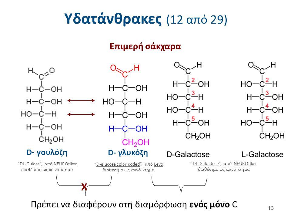 Υδατάνθρακες (12 από 29) Επιμερή σάκχαρα 13 D- γoυλόζη DL-Gulose , από NEUROtiker διαθέσιμο ως κοινό κτήμαDL-GuloseNEUROtiker D-glucose color coded , από Leyo διαθέσιμο ως κοινό κτήμαD-glucose color codedLeyo D- γλυκόζη Χ DL-Galactose , από NEUROtiker διαθέσιμο ως κοινό κτήμαDL-GalactoseNEUROtiker Πρέπει να διαφέρουν στη διαμόρφωση ενός μόνο C