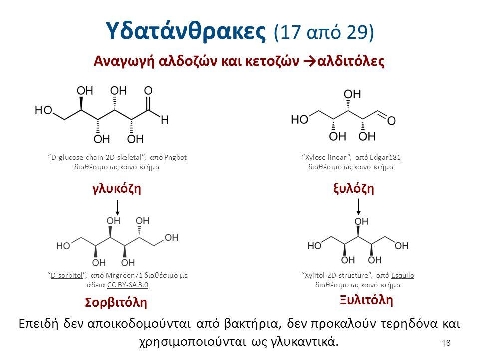Υδατάνθρακες (17 από 29) Αναγωγή αλδοζών και κετοζών →αλδιτόλες 18 D-glucose-chain-2D-skeletal , από Pngbot διαθέσιμο ως κοινό κτήμαD-glucose-chain-2D-skeletalPngbot Xylose linear , από Edgar181 διαθέσιμο ως κοινό κτήμαXylose linearEdgar181 γλυκόζηξυλόζη D-sorbitol , από Mrgreen71 διαθέσιμο με άδεια CC BY-SA 3.0D-sorbitolMrgreen71CC BY-SA 3.0 Xylitol-2D-structure , από Esquilo διαθέσιμο ως κοινό κτήμαXylitol-2D-structureEsquilo Επειδή δεν αποικοδομούνται από βακτήρια, δεν προκαλούν τερηδόνα και χρησιμοποιούνται ως γλυκαντικά.