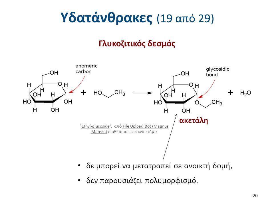 Υδατάνθρακες (19 από 29) Γλυκοζιτικός δεσμός 20 Ethyl-glucoside , από File Upload Bot (Magnus Manske) διαθέσιμο ως κοινό κτήμαEthyl-glucosideFile Upload Bot (Magnus Manske) ακετάλη δε μπορεί να μετατραπεί σε ανοικτή δομή, δεν παρουσιάζει πολυμορφισμό.
