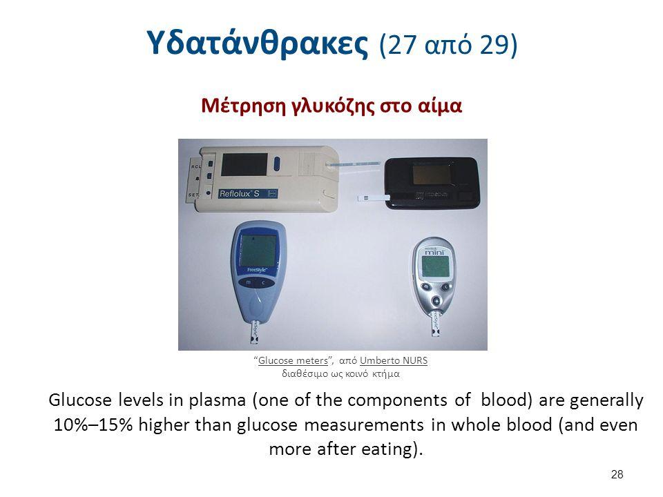 Υδατάνθρακες (27 από 29) Μέτρηση γλυκόζης στο αίμα 28 Glucose meters , από Umberto NURS διαθέσιμο ως κοινό κτήμαGlucose metersUmberto NURS Glucose levels in plasma (one of the components of blood) are generally 10%–15% higher than glucose measurements in whole blood (and even more after eating).