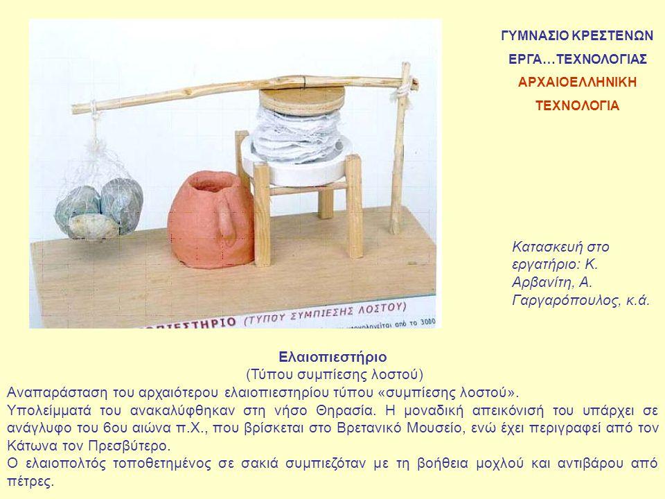 Ύσπληγα (σε φυσικό μέγεθος) Η ύσπληγα κατασκευάστηκε προκειμένου να χρησιμοποιηθεί στην εκδήλωση του Γυμνασίου Κρεστένων με θέμα «Αναπαράσταση των αρχαίων ολυμπιακών αγωνισμάτων και αρχαίων ελληνικών παιχνιδιών».