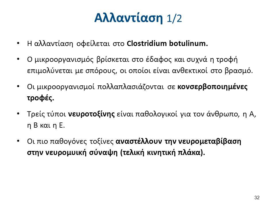 Αλλαντίαση 1/2 Η αλλαντίαση οφείλεται στο Clostridium botulinum.