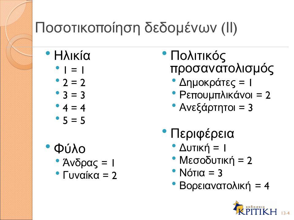 Ηλικία 1 = 1 2 = 2 3 = 3 4 = 4 5 = 5 Φύλο Άνδρας = 1 Γυναίκα = 2 Πολιτικός π ροσανατολισμός Δημοκράτες = 1 Ρε π ουμ π λικάνοι = 2 Ανεξάρτητοι = 3 Περιφέρεια Δυτική = 1 Μεσοδυτική = 2 Νότια = 3 Βορειανατολική = 4 13-4 Ποσοτικο π οίηση δεδομένων ( ΙΙ )
