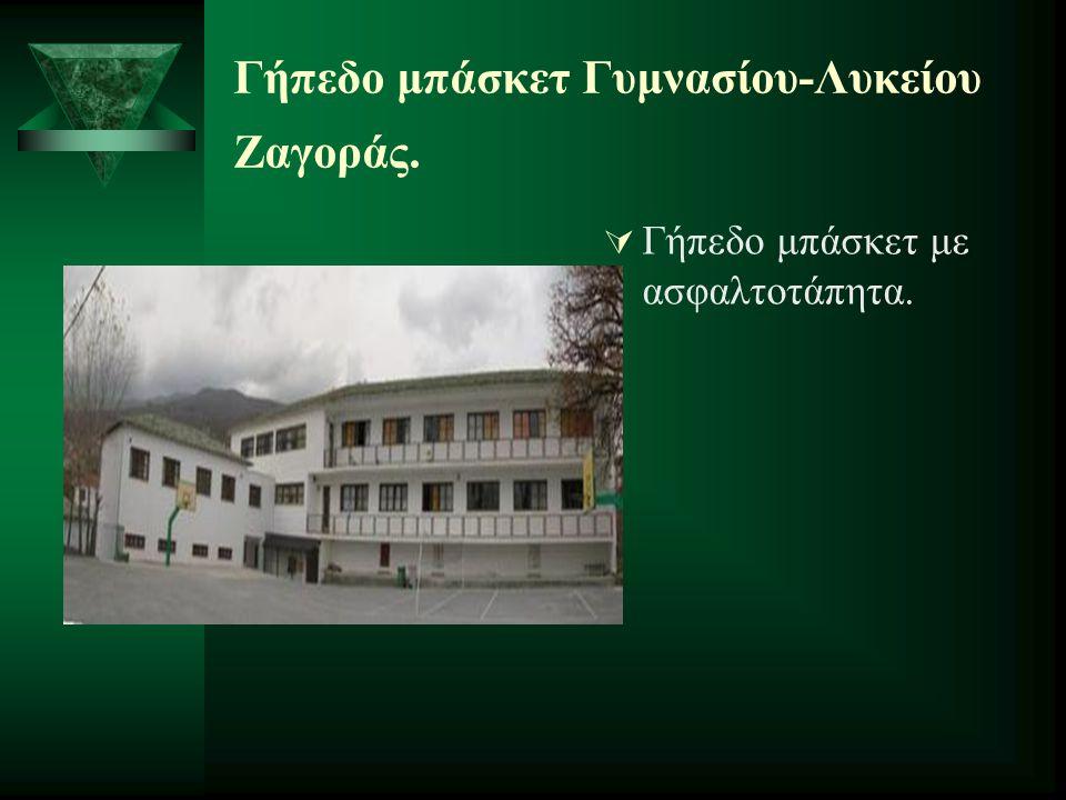 Γήπεδο μπάσκετ Γυμνασίου-Λυκείου Ζαγοράς.  Γήπεδο μπάσκετ με ασφαλτοτάπητα.