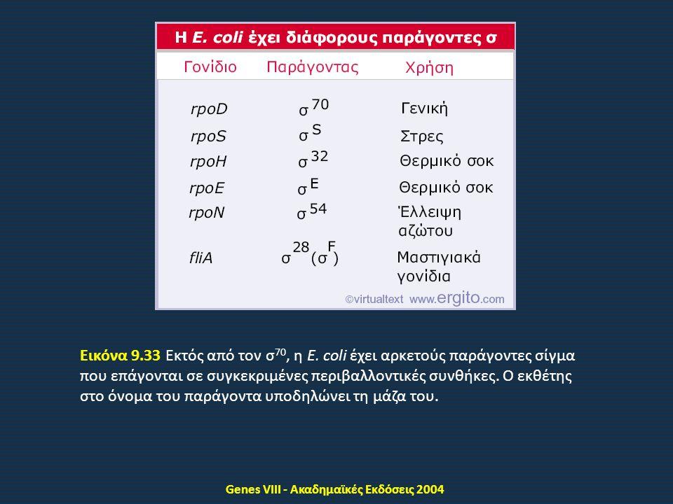 Genes VIII - Ακαδημαϊκές Εκδόσεις 2004 Εικόνα 9.33 Εκτός από τον σ 70, η E.