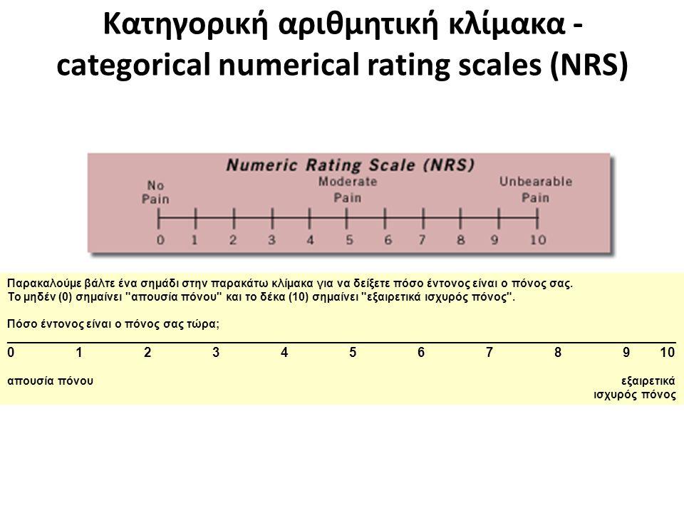 Κατηγορική αριθμητική κλίμακα - categorical numerical rating scales (NRS) Παρακαλούµε βάλτε ένα σηµάδι στην παρακάτω κλίµακα για να δείξετε πόσο έντον
