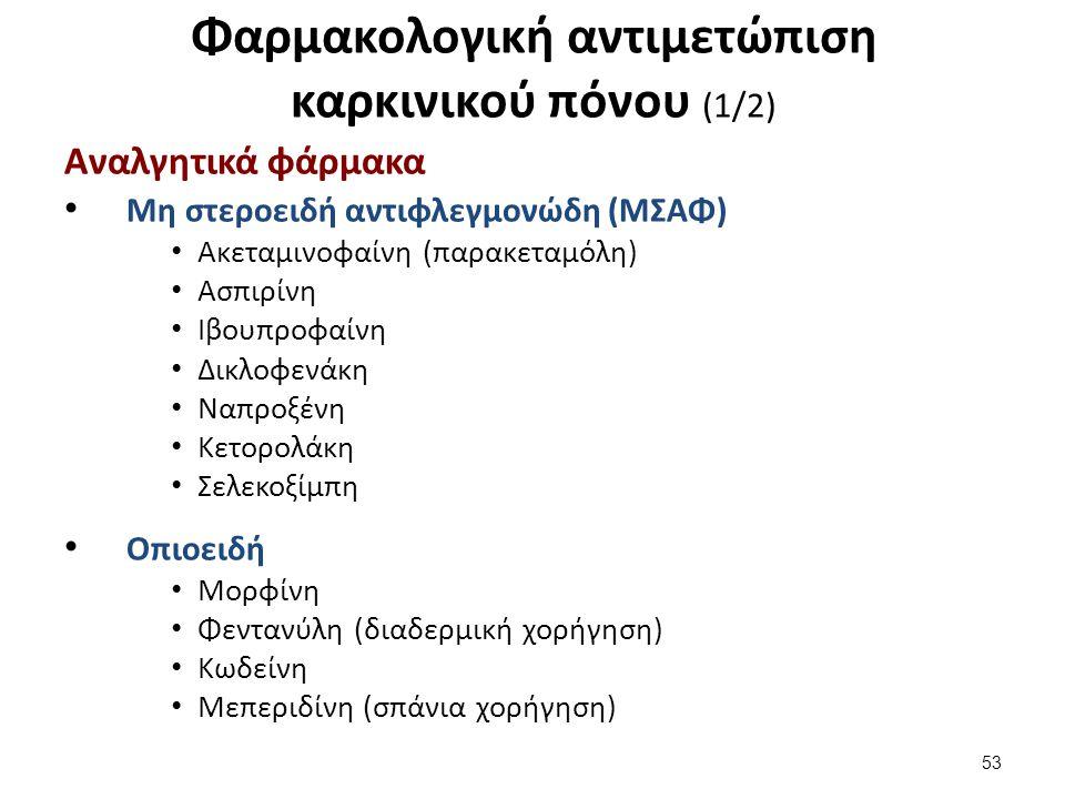 Φαρμακολογική αντιμετώπιση καρκινικού πόνου (1/2) Αναλγητικά φάρμακα Μη στεροειδή αντιφλεγμονώδη (ΜΣΑΦ) Ακεταμινοφαίνη (παρακεταμόλη) Ασπιρίνη Ιβουπρο