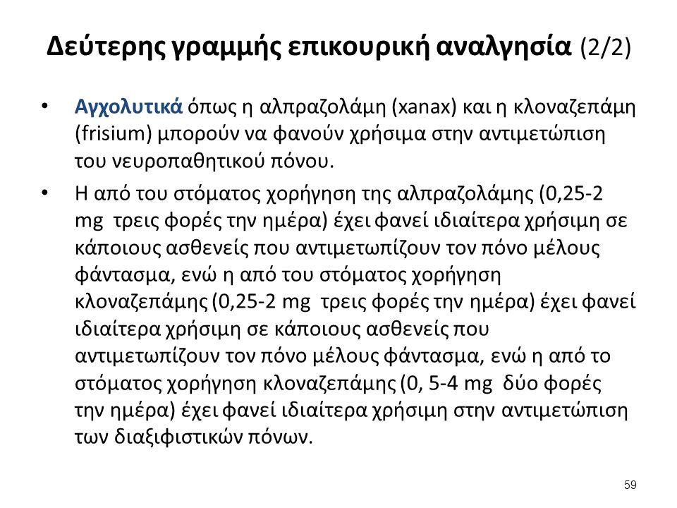 Δεύτερης γραμμής επικουρική αναλγησία (2/2) Αγχολυτικά όπως η αλπραζολάμη (xanax) και η κλοναζεπάμη (frisium) μπορούν να φανούν χρήσιμα στην αντιμετώπ