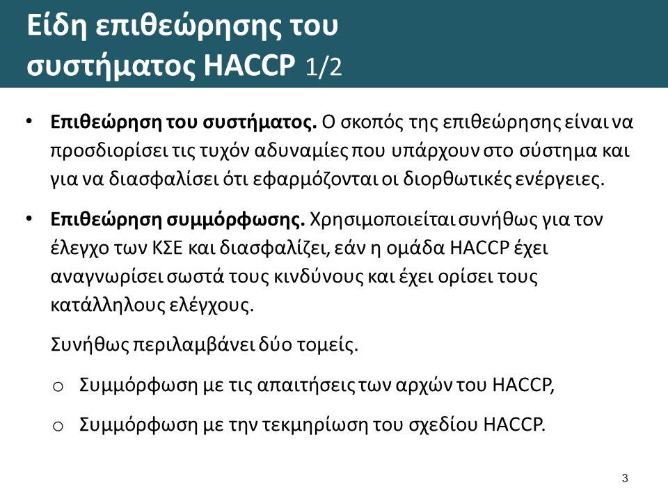 Είδη επιθεώρησης του συστήματος HACCP 1/2 3 Επιθεώρηση του συστήματος. Ο σκοπός της επιθεώρησης είναι να προσδιορίσει τις τυχόν αδυναμίες που υπάρχουν