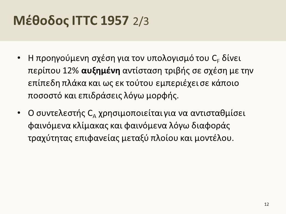 Μέθοδος ITTC 1957 2/3 Η προηγούμενη σχέση για τον υπολογισμό του C F δίνει περίπου 12% αυξημένη αντίσταση τριβής σε σχέση με την επίπεδη πλάκα και ως