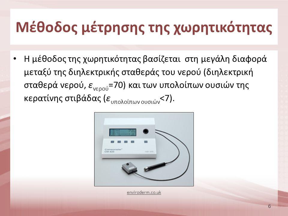 6 H μέθοδος της χωρητικότητας βασίζεται στη μεγάλη διαφορά μεταξύ της διηλεκτρικής σταθεράς του νερού (διηλεκτρική σταθερά νερού, ε νερού =70) και των