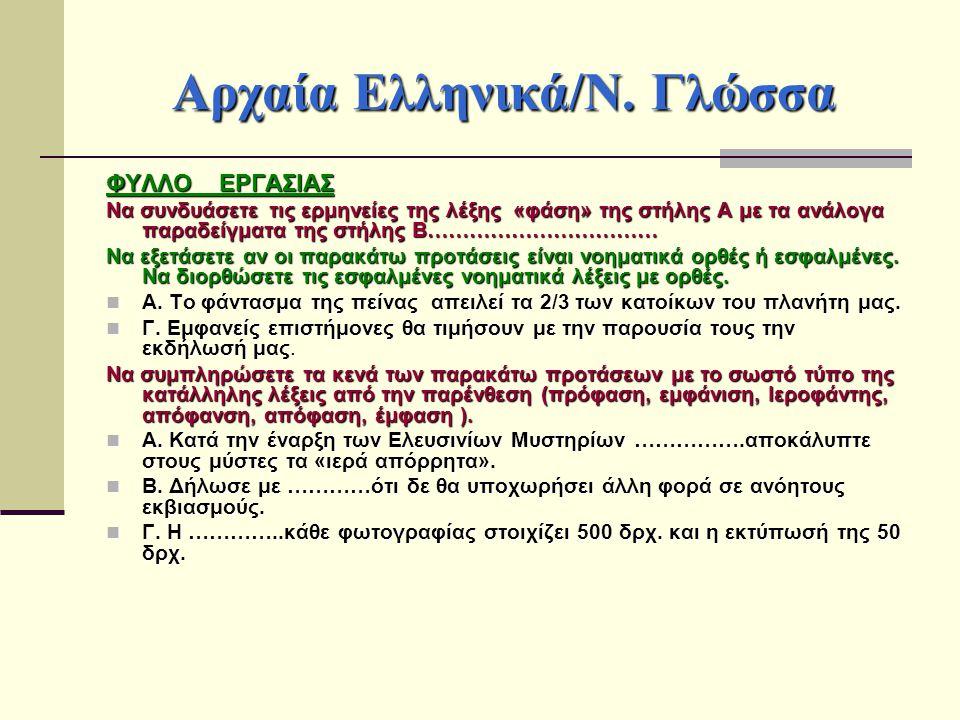 Αρχαία Ελληνικά/Ν. Γλώσσα ΦΥΛΛΟ ΕΡΓΑΣΙΑΣ Να συνδυάσετε τις ερμηνείες της λέξης «φάση» της στήλης Α με τα ανάλογα παραδείγματα της στήλης Β……………………………