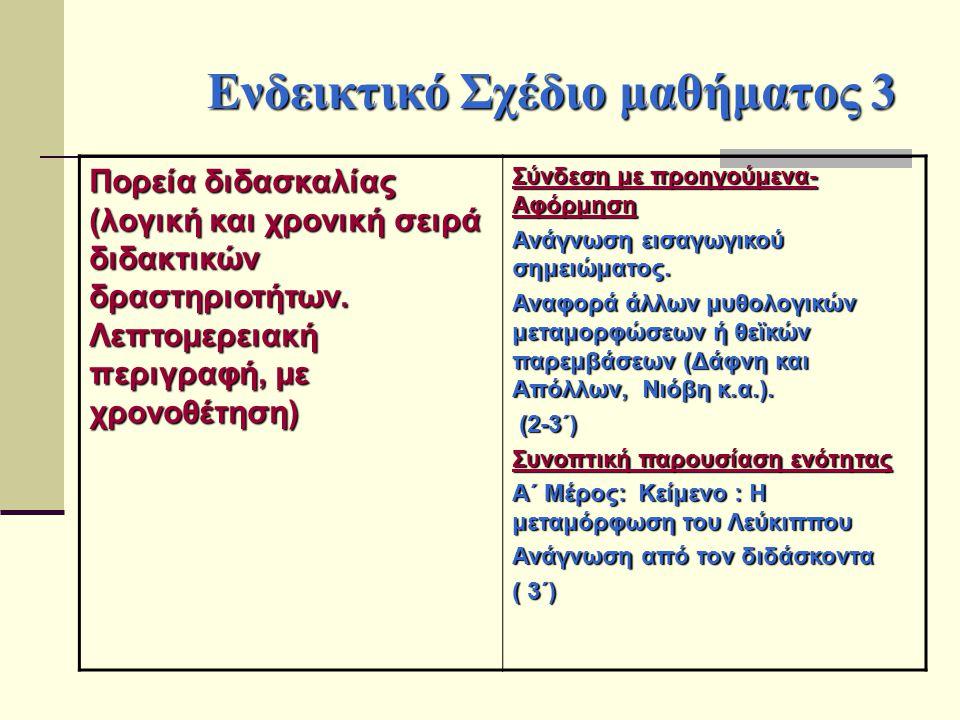 Ενδεικτικό Σχέδιο μαθήματος 3 Πορεία διδασκαλίας (λογική και χρονική σειρά διδακτικών δραστηριοτήτων. Λεπτομερειακή περιγραφή, με χρονοθέτηση) Σύνδεση