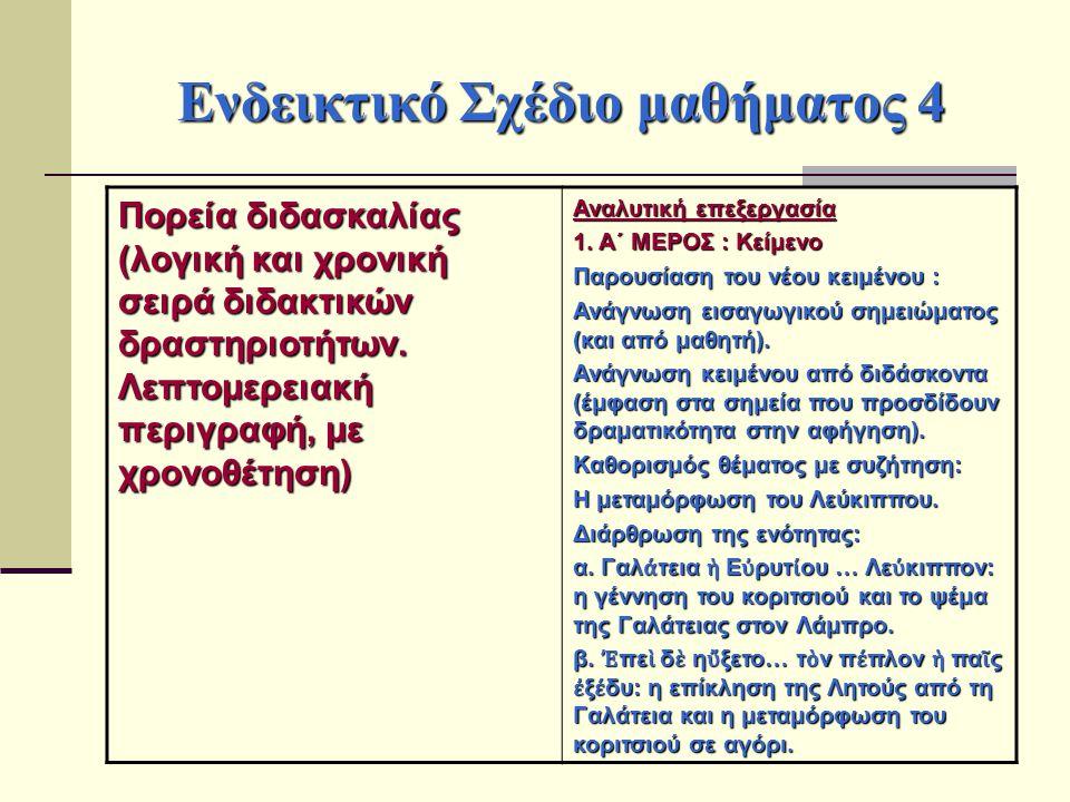Ενδεικτικό Σχέδιο μαθήματος 4 Πορεία διδασκαλίας (λογική και χρονική σειρά διδακτικών δραστηριοτήτων. Λεπτομερειακή περιγραφή, με χρονοθέτηση) Αναλυτι
