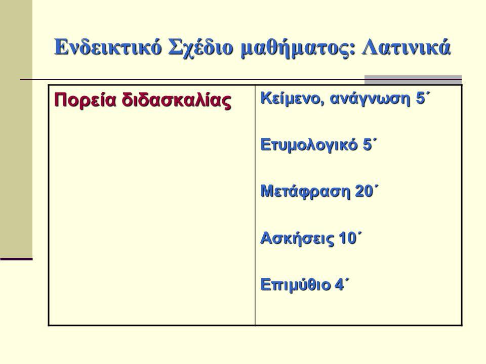 Ενδεικτικό Σχέδιο μαθήματος: Λατινικά Πορεία διδασκαλίας Κείμενο, ανάγνωση 5΄ Ετυμολογικό 5΄ Μετάφραση 20΄ Ασκήσεις 10΄ Επιμύθιο 4΄