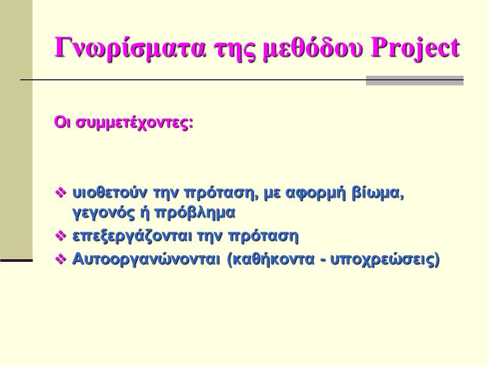 Γνωρίσματα της μεθόδου Project Οι συμμετέχοντες:  υιοθετούν την πρόταση, με αφορμή βίωμα, γεγονός ή πρόβλημα  επεξεργάζονται την πρόταση  Αυτοοργαν