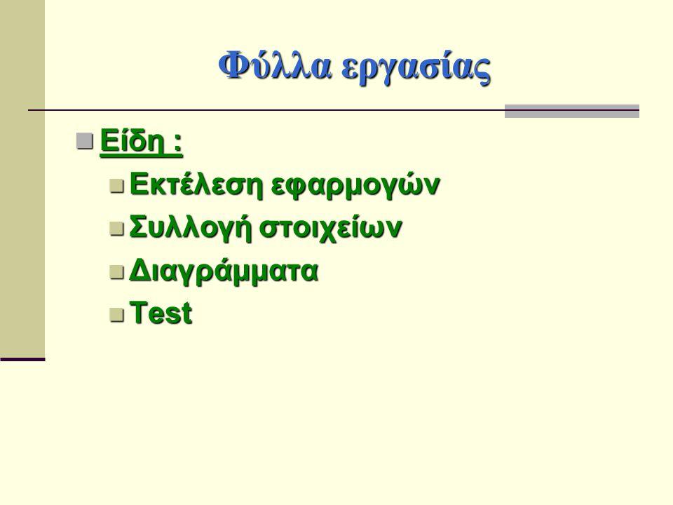 Φύλλα εργασίας Είδη : Είδη : Εκτέλεση εφαρμογών Εκτέλεση εφαρμογών Συλλογή στοιχείων Συλλογή στοιχείων Διαγράμματα Διαγράμματα Test Test