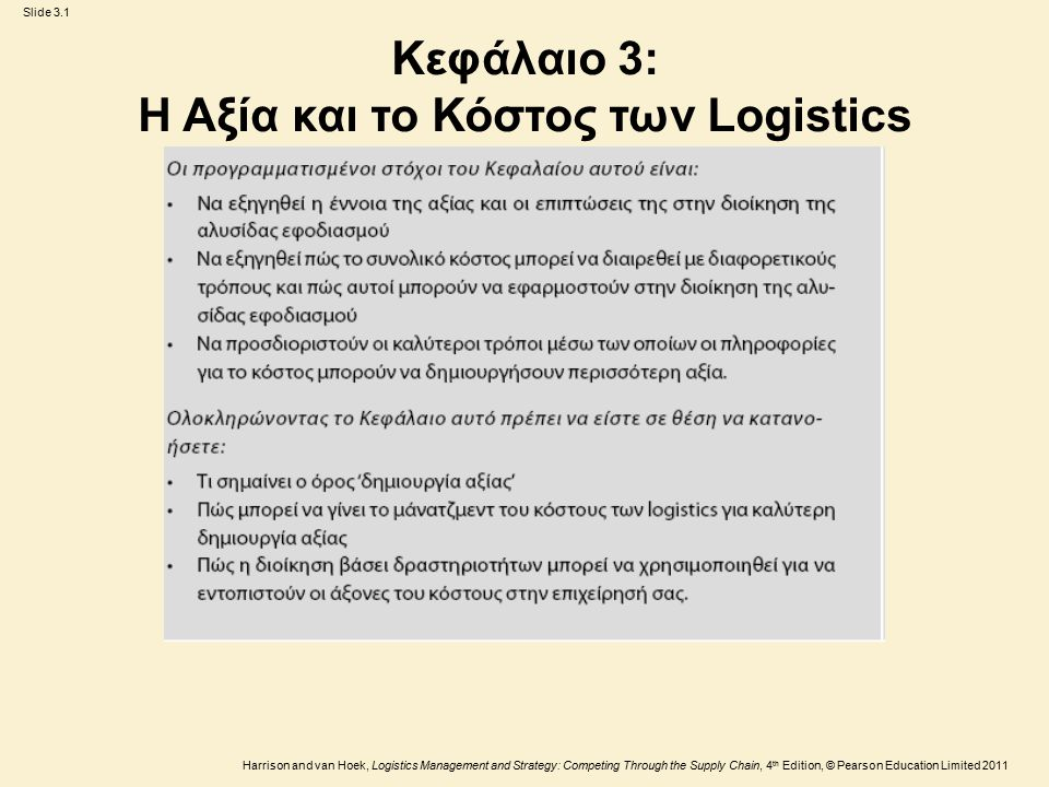Slide 3.1 Harrison and van Hoek, Logistics Management and Strategy: Competing Through the Supply Chain, 4 th Edition, © Pearson Education Limited 2011