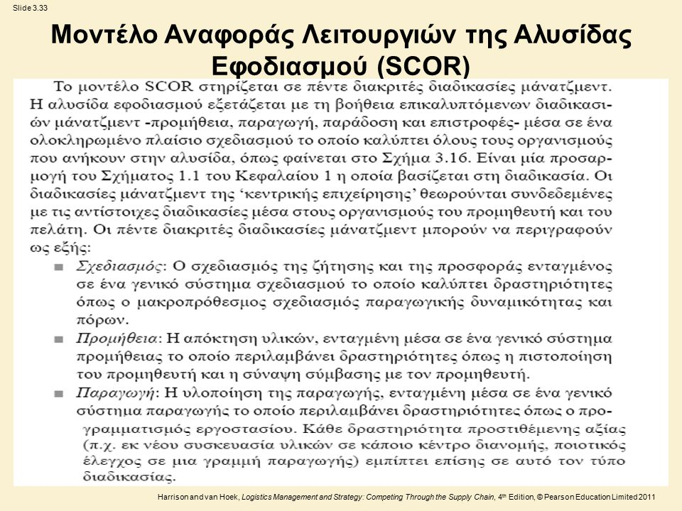 Slide 3.33 Harrison and van Hoek, Logistics Management and Strategy: Competing Through the Supply Chain, 4 th Edition, © Pearson Education Limited 2011 Μοντέλο Αναφοράς Λειτουργιών της Αλυσίδας Εφοδιασμού (SCOR)