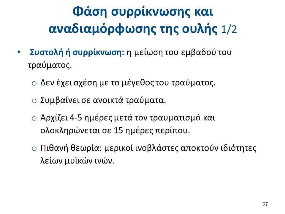 Φάση συρρίκνωσης και αναδιαμόρφωσης της ουλής 1/2 Συστολή ή συρρίκνωση: η μείωση του εμβαδού του τραύματος. o Δεν έχει σχέση με το μέγεθος του τραύματ