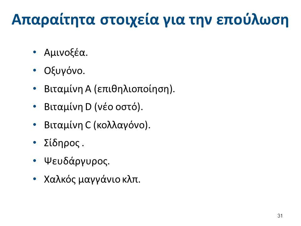 Απαραίτητα στοιχεία για την επούλωση Αμινοξέα. Οξυγόνο. Βιταμίνη Α (επιθηλιοποίηση). Βιταμίνη D (νέο οστό). Βιταμίνη C (κολλαγόνο). Σίδηρος. Ψευδάργυρ