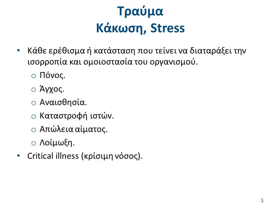 Τραύμα Κάκωση, Stress Κάθε ερέθισμα ή κατάσταση που τείνει να διαταράξει την ισορροπία και ομοιοστασία του οργανισμού. o Πόνος. o Άγχος. o Αναισθησία.
