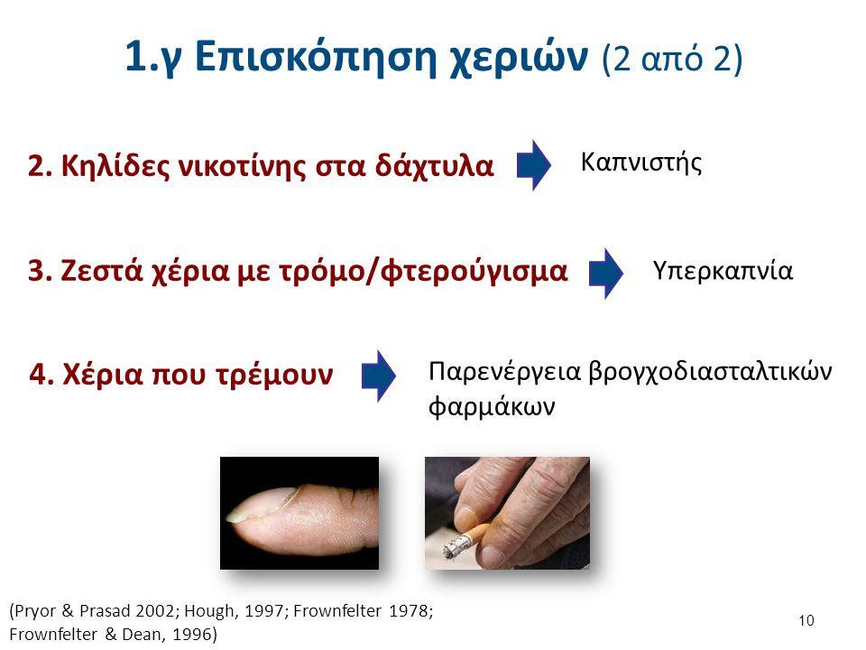 1.γ Επισκόπηση χεριών (2 από 2) 3. Ζεστά χέρια με τρόμο/φτερούγισμα 10 Υπερκαπνία Παρενέργεια βρογχοδιασταλτικών φαρμάκων (Pryor & Prasad 2002; Hough,
