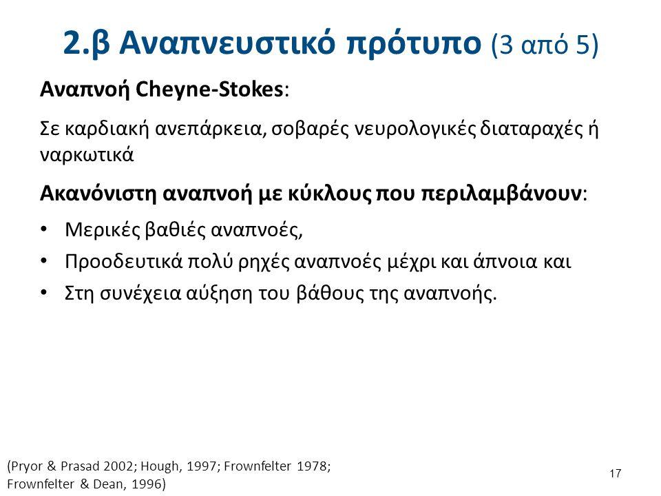 2.β Αναπνευστικό πρότυπο (3 από 5) Αναπνοή Cheyne-Stokes: Σε καρδιακή ανεπάρκεια, σοβαρές νευρολογικές διαταραχές ή ναρκωτικά Ακανόνιστη αναπνοή με κύ