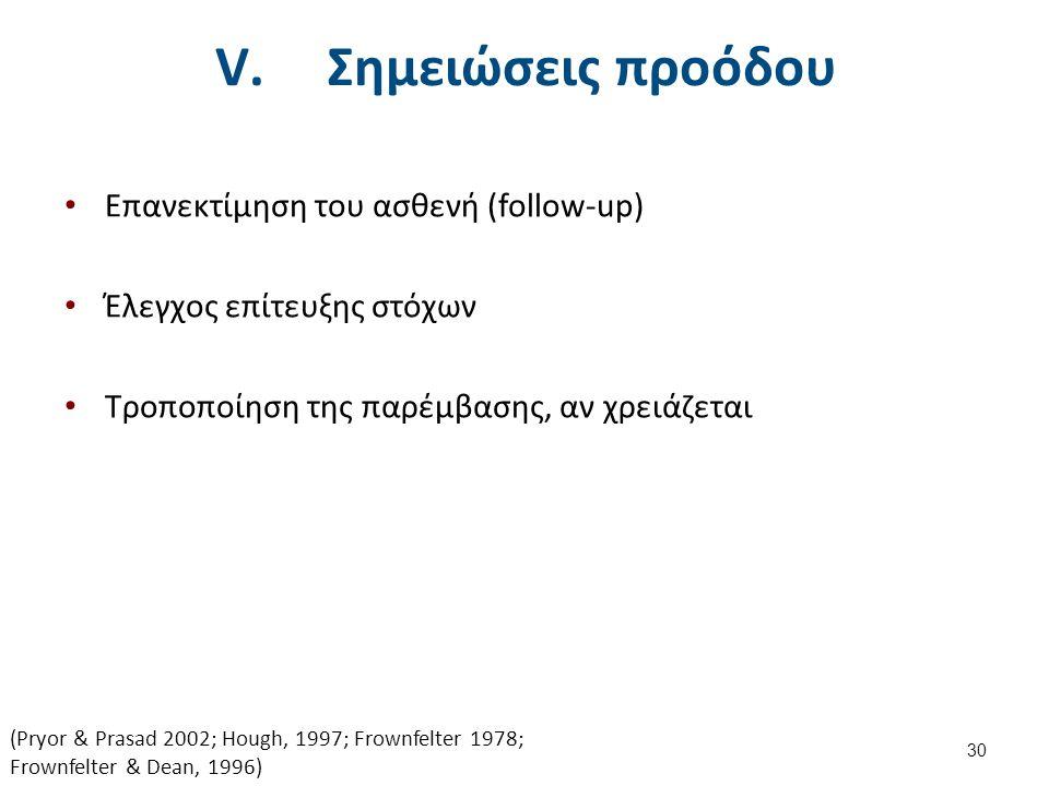 V. Σημειώσεις προόδου Επανεκτίμηση του ασθενή (follow-up) Έλεγχος επίτευξης στόχων Τροποποίηση της παρέμβασης, αν χρειάζεται 30 (Pryor & Prasad 2002;