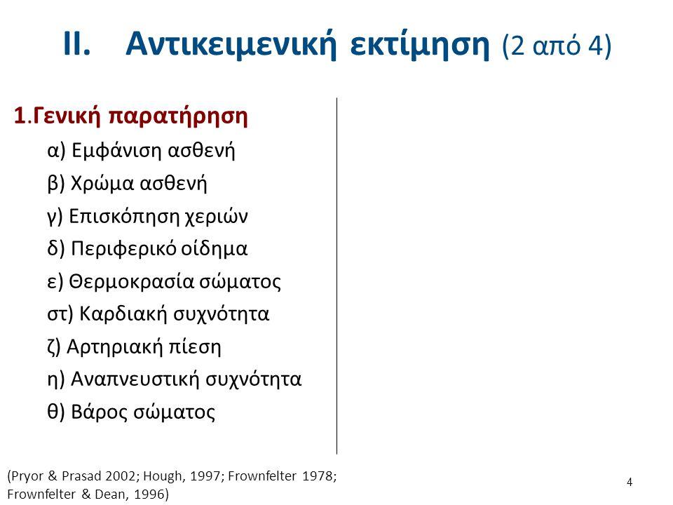 2.β Αναπνευστικό πρότυπο (1 από 5) Φυσιολογικό: Ενεργητική εισπνοή, παθητική εκπνοή I/E : 1/1.5 – 1/2 Παρατεταμένη εκπνοή : Αποφρακτική Πνευμονοπάθεια (απόφραξη μικρών αεραγών) I/E : 1/3 – 1-4 Αναπνοή με μισόκλειστα χείλη : Σοβαρή πάθηση αεραγωγών Εμποδίζει την σύμπτωση των κυψελίδων αυξάνοντας έτσι τη συνολική ροή αέρα 15 (Pryor & Prasad 2002; Hough, 1997; Frownfelter 1978; Frownfelter & Dean, 1996) Μπορεί να υποδηλώνει παθολογία