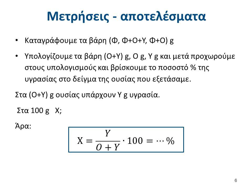 Μετρήσεις - αποτελέσματα Καταγράφουμε τα βάρη (Φ, Φ+Ο+Υ, Φ+Ο) g Υπολογίζουμε τα βάρη (Ο+Υ) g, Ο g, Υ g και μετά προχωρούμε στους υπολογισμούς και βρίσκουμε το ποσοστό % της υγρασίας στο δείγμα της ουσίας που εξετάσαμε.