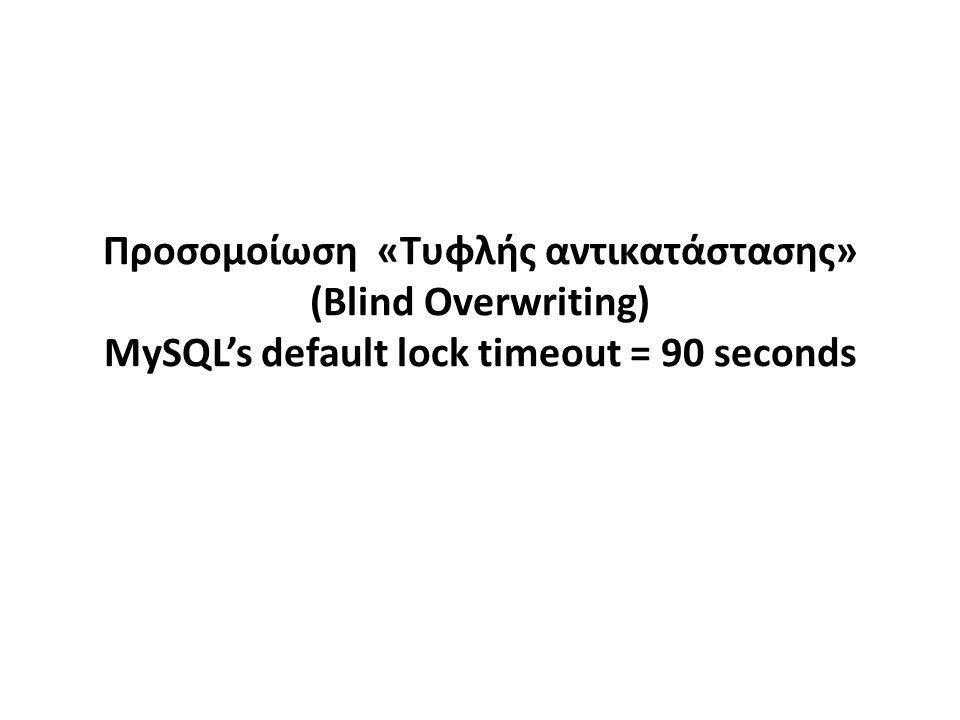 Προσομοίωση «Τυφλής αντικατάστασης» (Blind Overwriting) MySQL's default lock timeout = 90 seconds