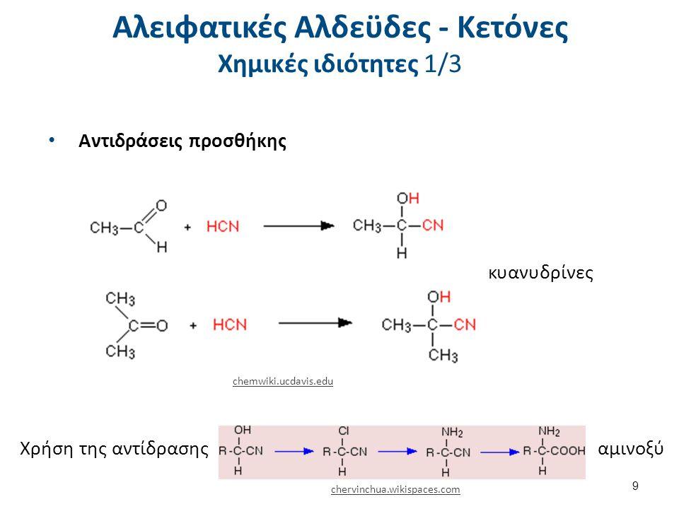Αλειφατικές Αλδεϋδες - Κετόνες Χημικές ιδιότητες 1/3 Αντιδράσεις προσθήκης κυανυδρίνες Χρήση της αντίδρασηςαμινοξύ chemwiki.ucdavis.edu chervinchua.wi