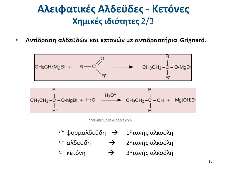 Αλειφατικές Αλδεϋδες - Κετόνες Χημικές ιδιότητες 2/3 Αντίδραση αλδεϋδών και κετονών με αντιδραστήρια Grignard. chervinchua.wikispaces.com  φορμαλδεϋδ