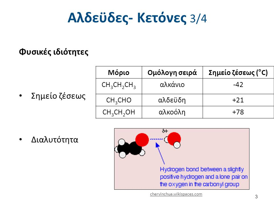 Αλδεϋδες- Κετόνες 3/4 ΜόριοΟμόλογη σειράΣημείο ζέσεως (°C) CH 3 CH 2 CH 3 αλκάνιο-42 CH 3 CHOαλδεϋδη+21 CH 3 CH 2 OHαλκοόλη+78 Φυσικές ιδιότητες Σημείο ζέσεως Διαλυτότητα chervinchua.wikispaces.com 3
